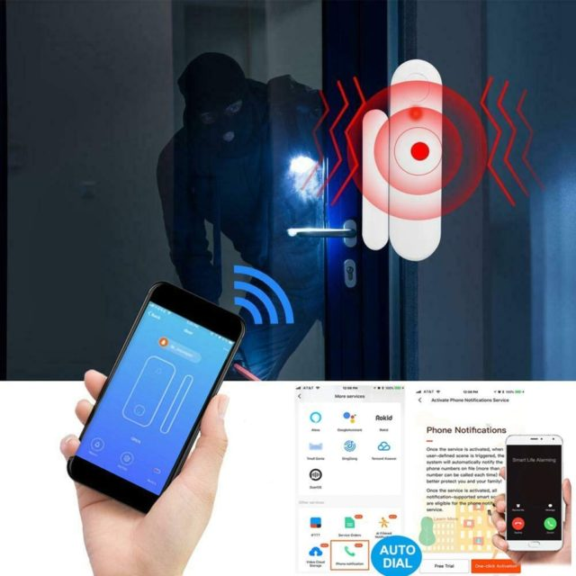 WiFi Smart Door Window Sensor Alarm Phone APP Voice Control