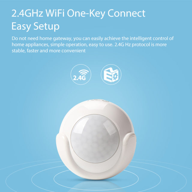 WiFi Smart PIR Motion Sensor , Smart Home Security With IFTTT for Voice Control