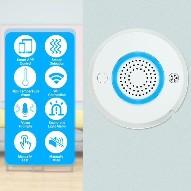 Smart WIFI+APP Fire Smoke Temperature Sensor Wireless Home Security
