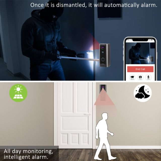 Full HD 1080P Wifi Video Doorbell Waterproof Security Camera Two-way audio Talk Night Vision