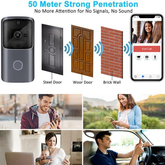 Smart Wifi Doorbell Camera Wireless Video Recorder Intercom Bell HD 720P