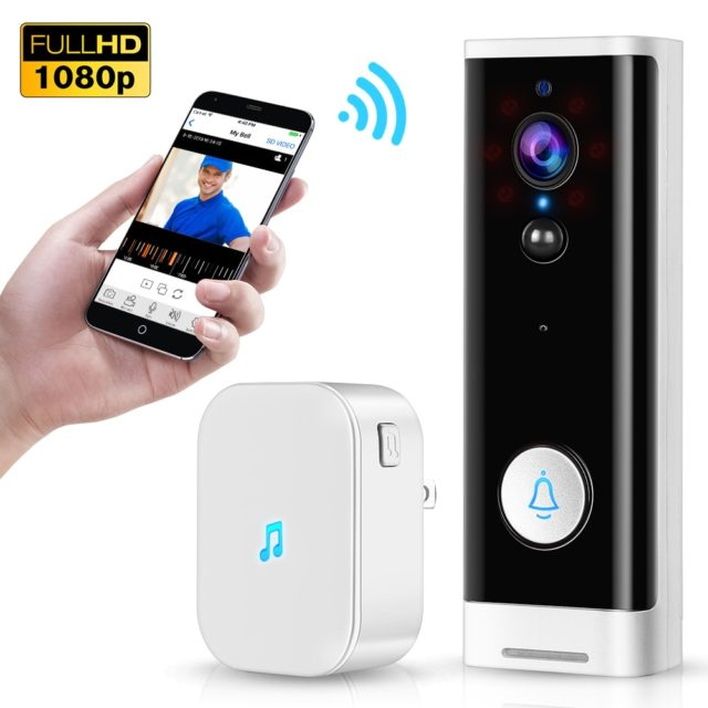 WiFi Video Doorbell 1080P Wireless Smart Security Camera Bell 2-way Talk PIR Motion Detection