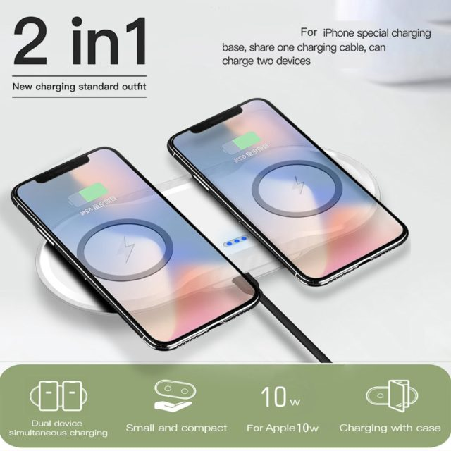 20W Double Wireless Charger Fast Charging Dock Station