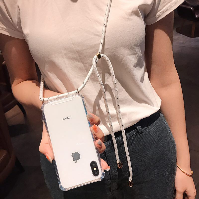 Fashion Cross Shoulder Strap Clear TPU Case For iPhone XS Max XR XS X 7 8 6 6S Plus 5 5S 11 Necklace Neck Rope Anti-knock Cover