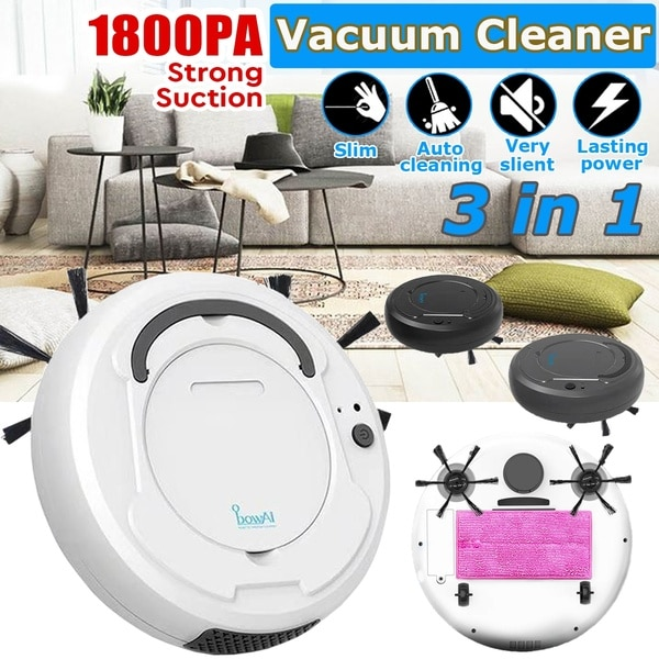 Multi functional Robot Vacuum Cleaner , 3-In-1 Auto Rechargeable Smart Sweeping