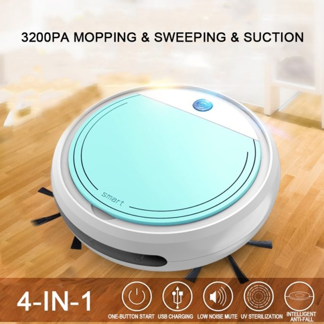 4-in-1 Smart Robot Vacuum Cleaner 3200pa USB Charging