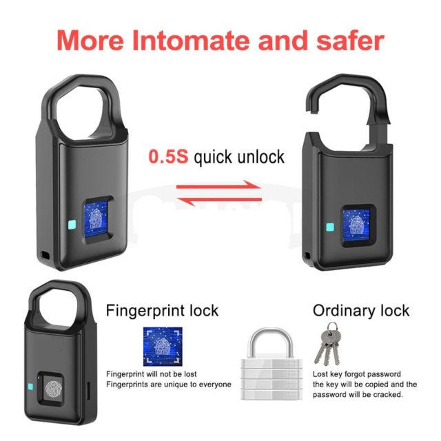 Smart Keyless Anti-Theft Padlock USB Rechargeable Fingerprint