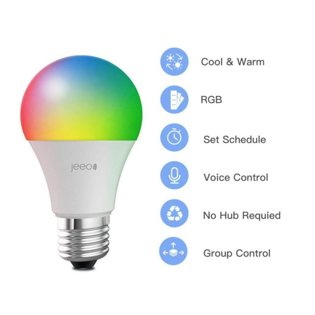 Amazon Alexa Google Home Voice Control Smart WiFi E27 7.5W RGBCW Dimmable LED