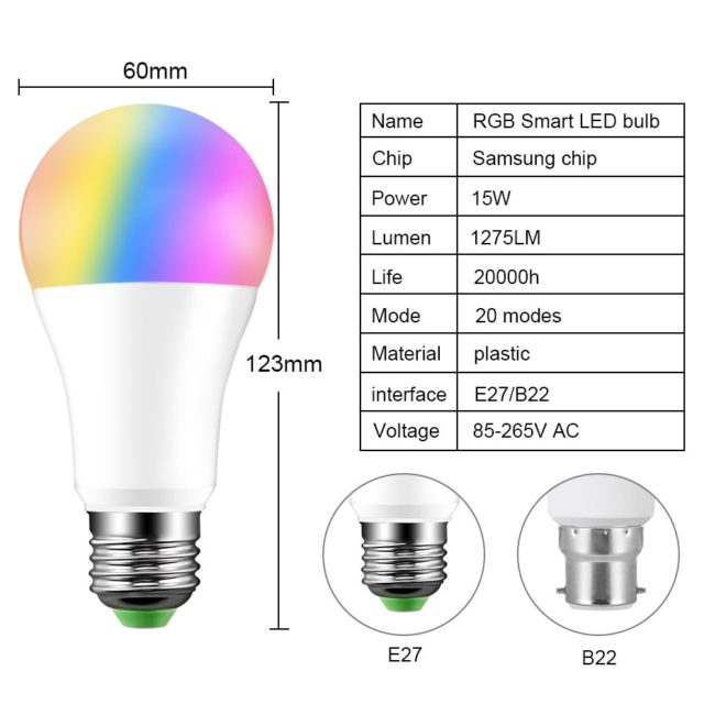 20 Modes Dimmable RGB LED Smart 15W Bluetooth Magic Lamp Music Control App