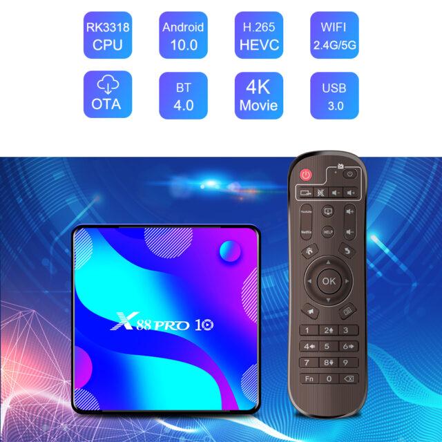 PRO 10 TV Box Android10 4K Google Store Netflix Youtube