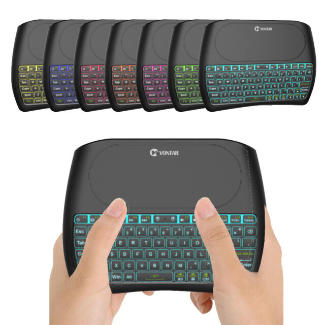 Backlight 2.4GHz Wireless Air Mouse English Russian Spanish Mini Keyboard