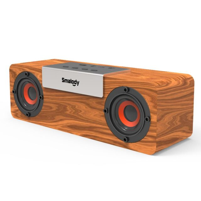 Wooden Bluetooth 5.0 wireless speaker 8W outdoor support U disk card, AUX Speaker for Phone