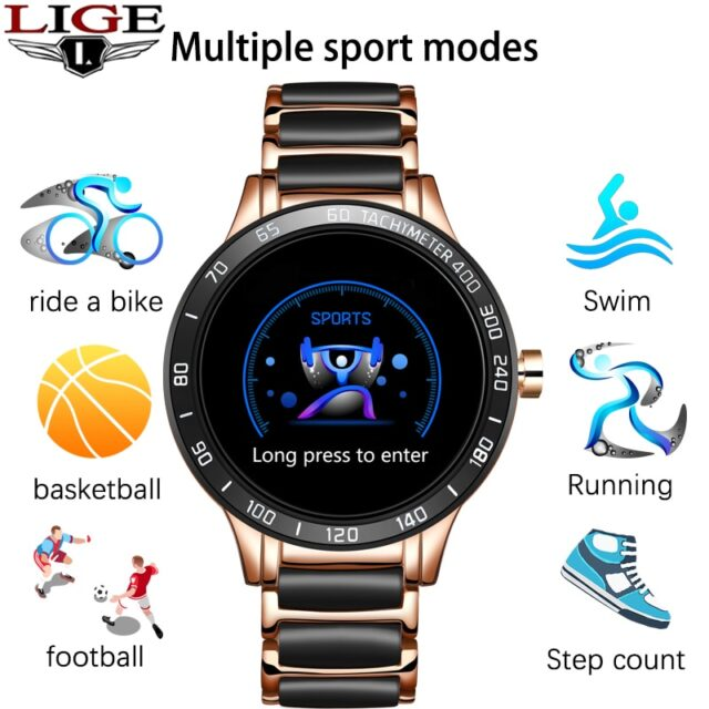 Luxury Ceramic Strap Smart Watch Waterproof Sports Fitness Tracker For Android ios