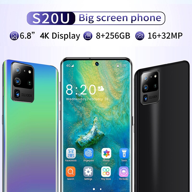 S20U Smartphone Deca Core Android 10 4800mAh Cellphone 8GB 256GB 6.8 inch HD Screen Quad Camera 5G Mobile Phone Global Version