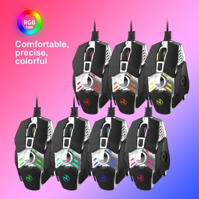 Wired Gaming Mouse 6400DPI Adjustable 7 button Macro Programming Professional-Grade Gamer Mice Wired Mouse for PC laptop
