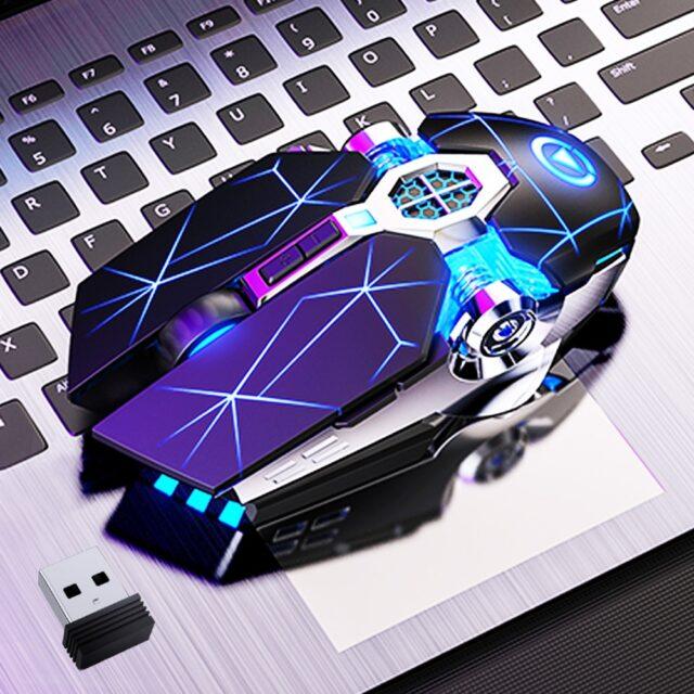 Gaming Mouse Rechargeable Wireless LED Backlit 2.4G USB 1600DPI Optical Ergonomic