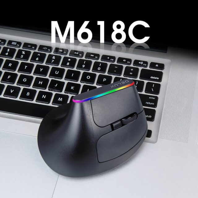 Delux Gaming Wireless Mouse Ergonomic 6 Buttons RGB