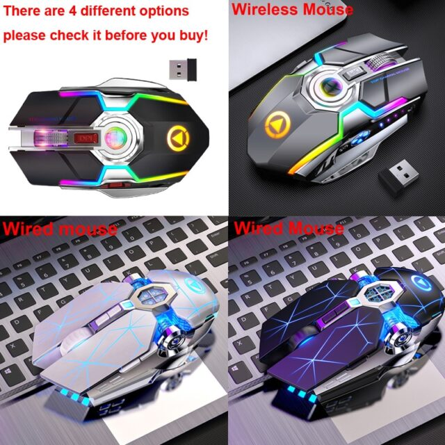 Gaming Mouse Rechargeable Wireless Mouse Silent 7 Keys RGB LED Backlit