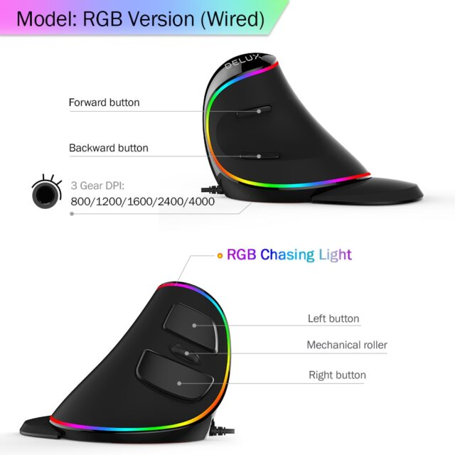 Ergonomics Vertical Gaming Mouse 6 Buttons 4000 DPI RGB Wired/Wireless