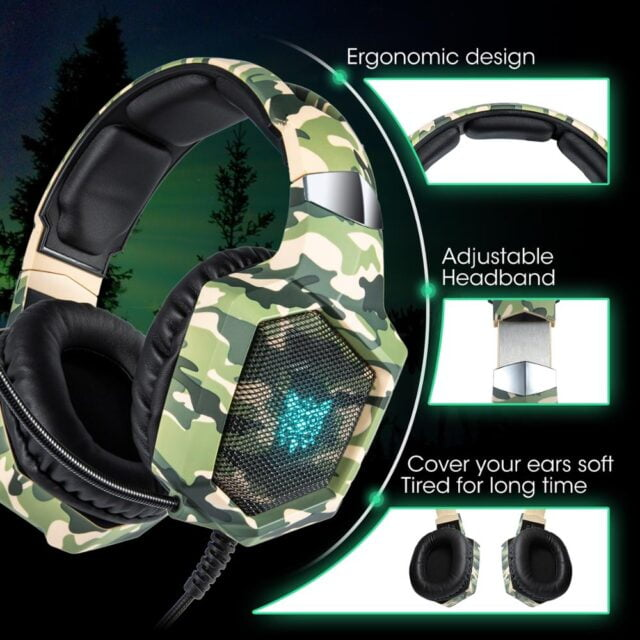 ONIKUMA K8 Gaming Headset ps4 Wired Headphones Camouflage Headset Gamer with Microphone LED Lights for Gamer/PC  XBox
