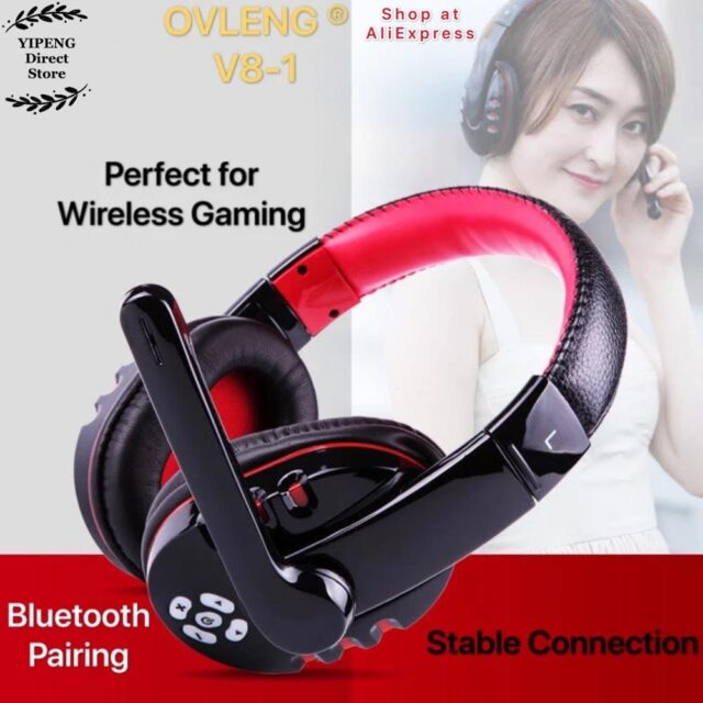 OVLENG V8-1 Over Ear Wireless Bluetooth Headphones Headset Gamer Support Microphone Gaming Earphones with LED Button