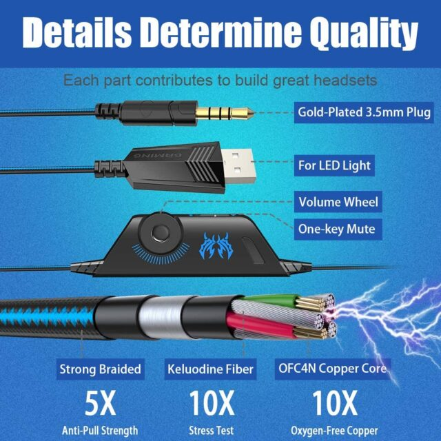 Gaming Headset Deep Bass Stereo Game Headphone with Microphone LED Light for PS4 Phone Laptop