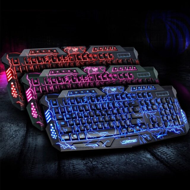 Keyboard Mouse Purple/Blue/Red LED Breathing Backlight Pro Gaming