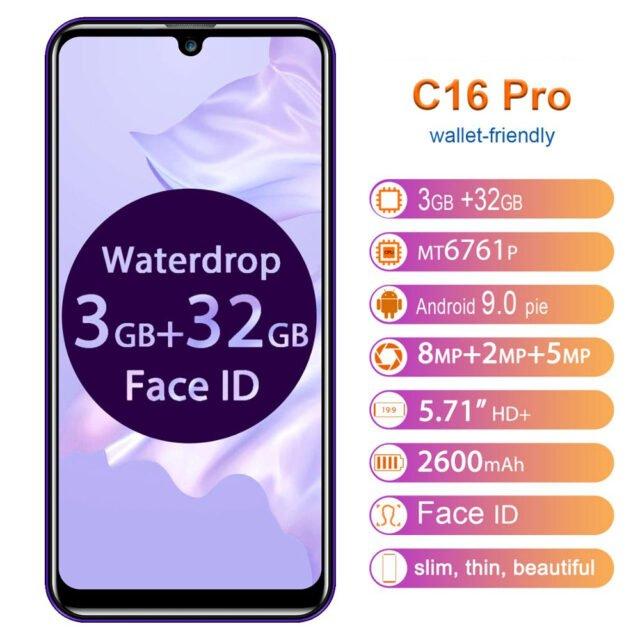 C16 Pro Smartphone 3GB 32GB Quad Core 5.71″ Waterdrop Screen 19:9 Fingerprint Face ID