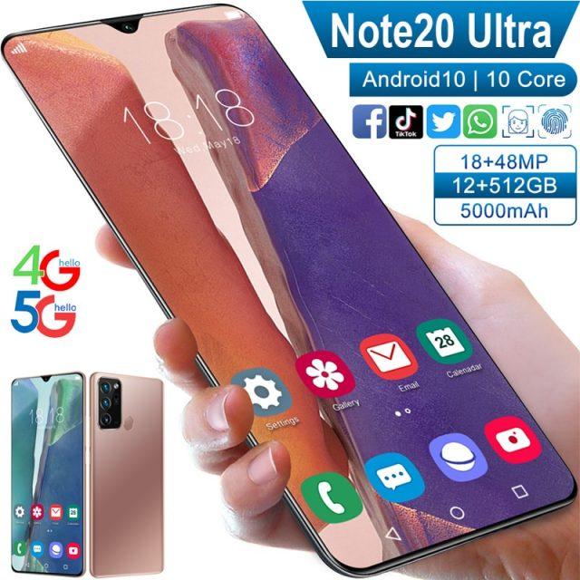 6.5inch Note20Ultra Smartphone 12GB RAM 512GB ROM Dual SIM