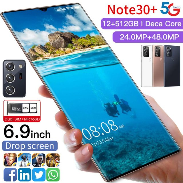 Note30+ 6.9″ MobilePhone Snapdragon 865 Android 10.0 12GB 512GB 6000mAh Fingerprint