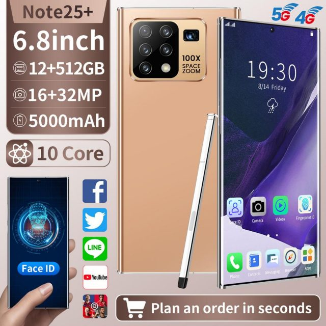 6.8 Inch Note25+ MobilePhone Snapdragon865 Android 10.0 12GB 512GB Fingerprint