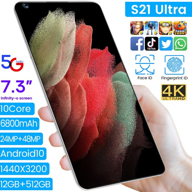 7.3″ S21Ultra Deca Core Android 10.0 Smartphone 12G RAM 512G ROM