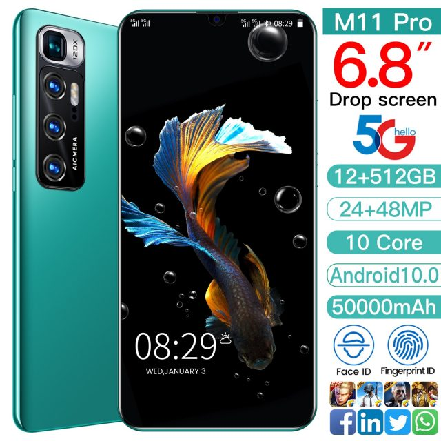 2021 New 6.8″ M11 Pro Smartphone 12GB 512GB Android 10.0 4G 5G Face Unlock