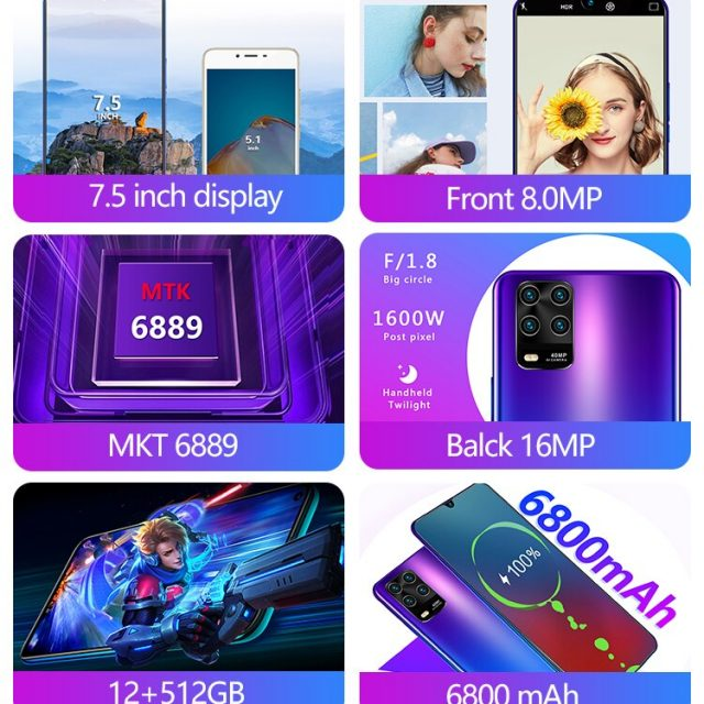 7.5 Inch ME10 Android10 12GB RAM 512GB ROM Deca Core 4 Cameras