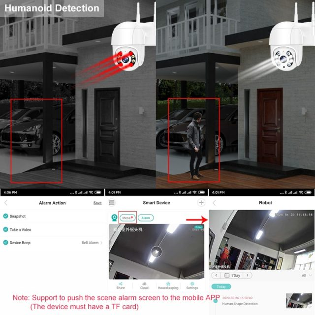 1080P Outdoor WiFi IP Camera 4X Digital Zoom Security Ai Humanoid Detection
