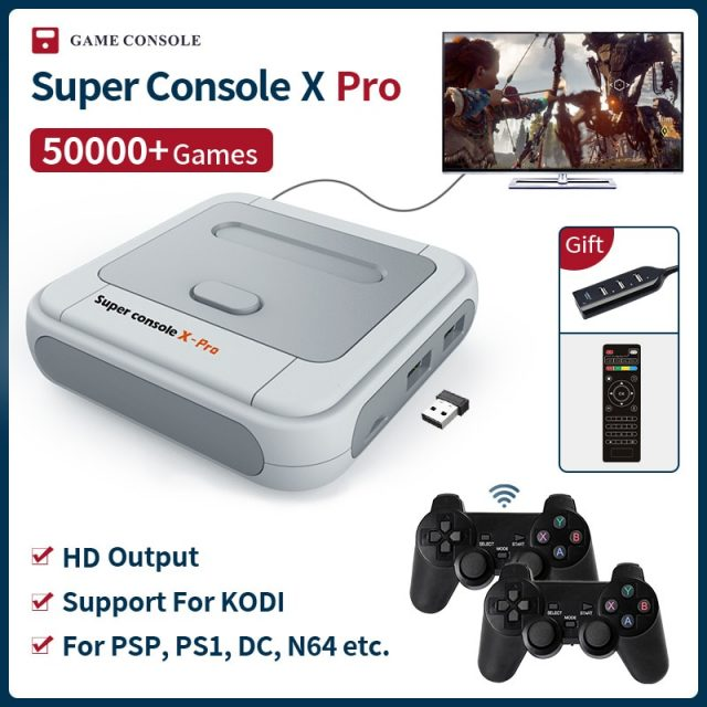Super X Pro HD WiFi Mini TV Video Game PSP/PS1/N64/DC Built-in 50,000+ Games