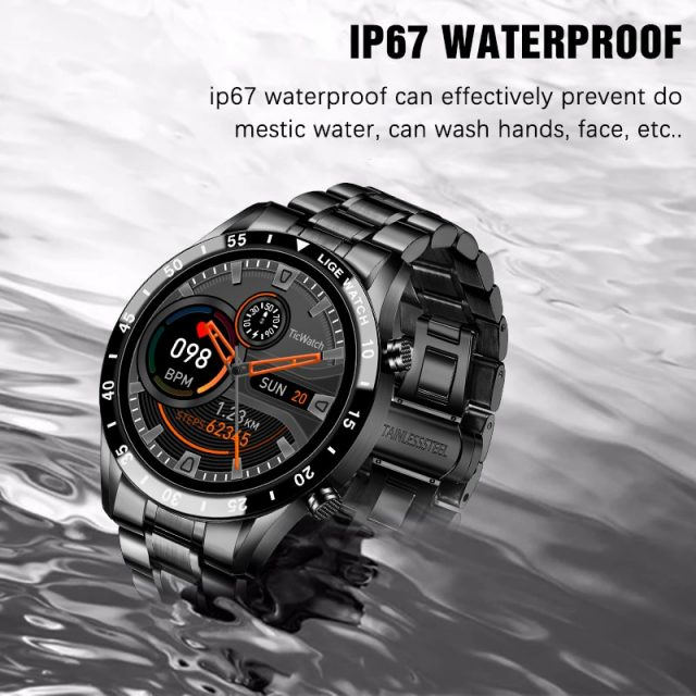 New Smart Watch Men Full Touch Screen Sports Fitness Watch IP67 Waterproof